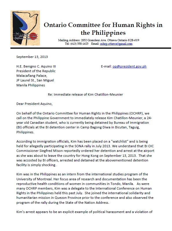 Ontario committee for human rights in the philippines for Bureau tagalog